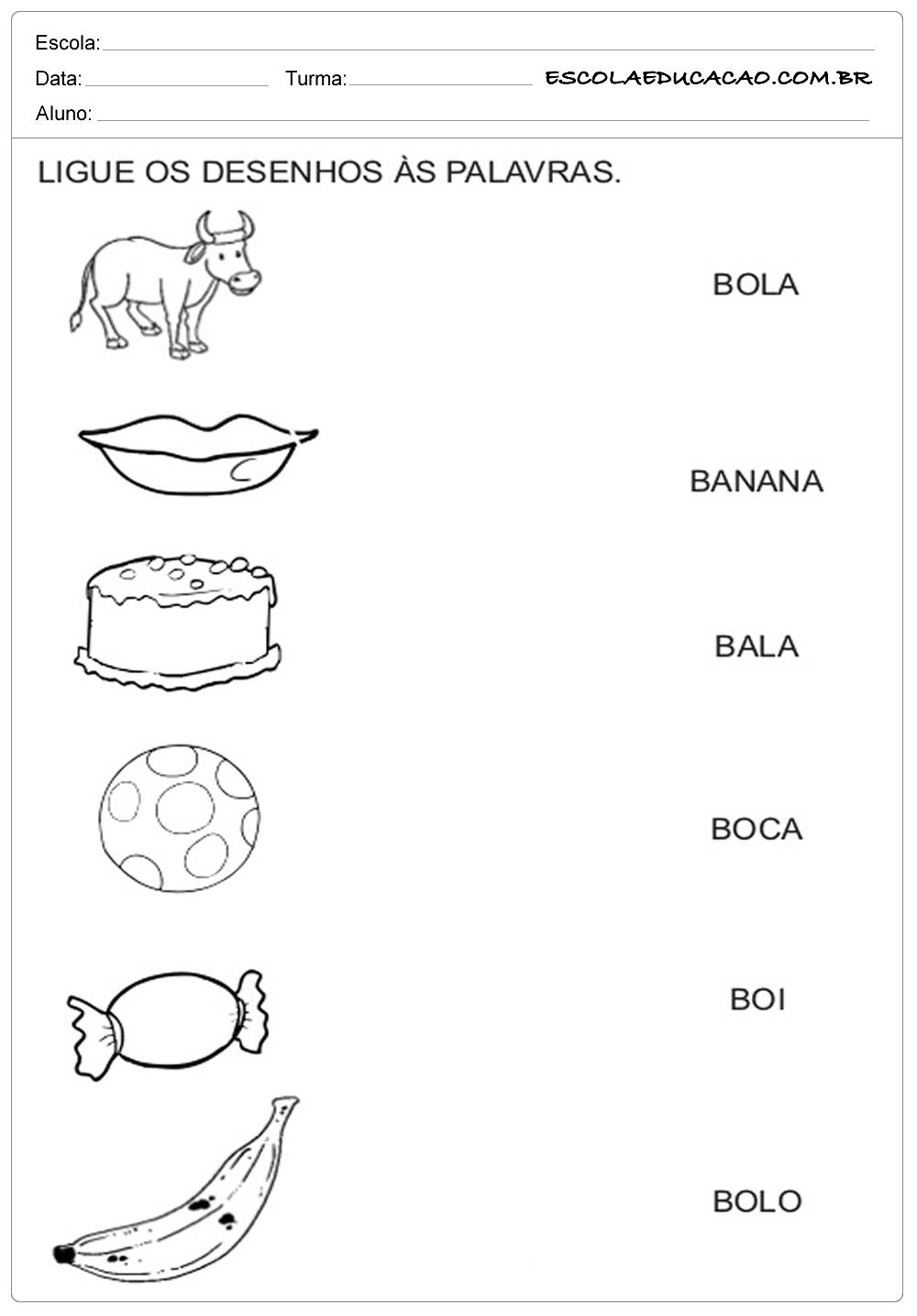 ligue os desenhos com letra b escola educação