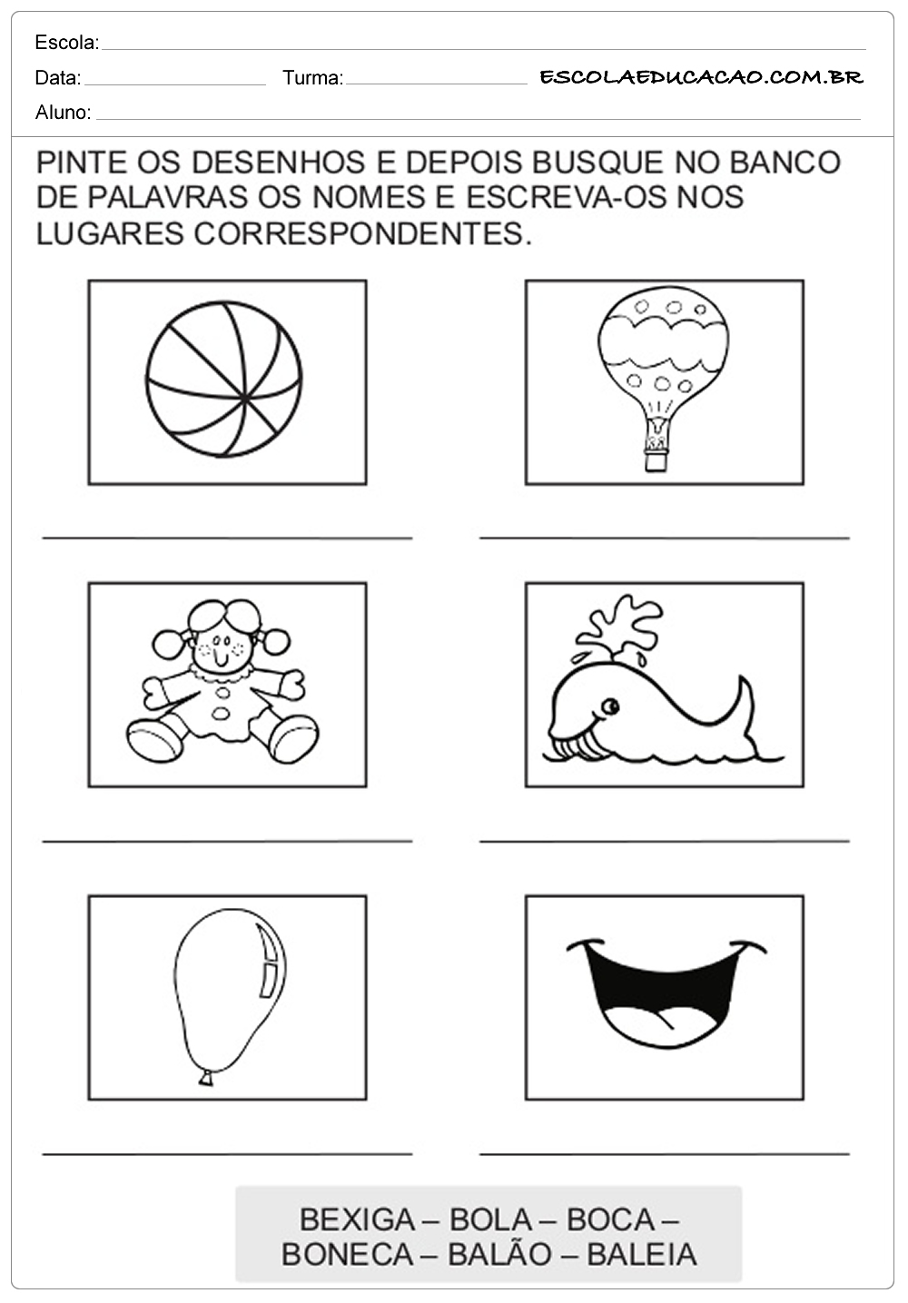 pinte os desenhos que possuem a letra b escola educação