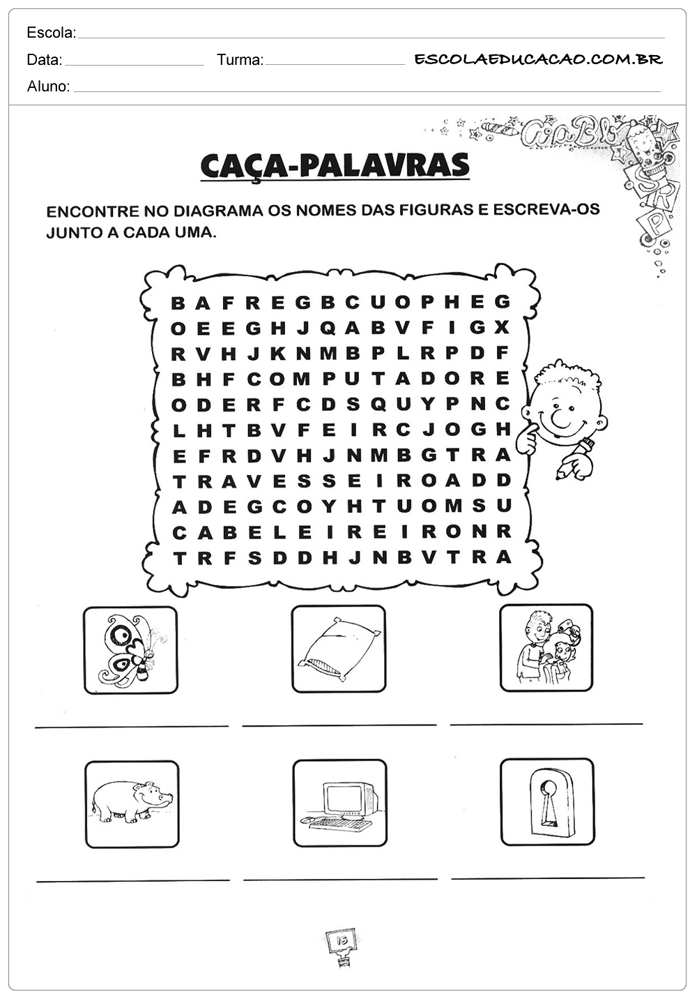 Atividades de Gramática – Caça Palavras – Diagrama