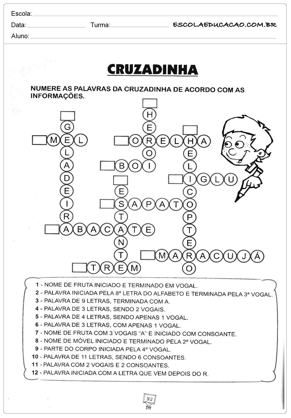 Atividades de Gramática – Cruzadinha