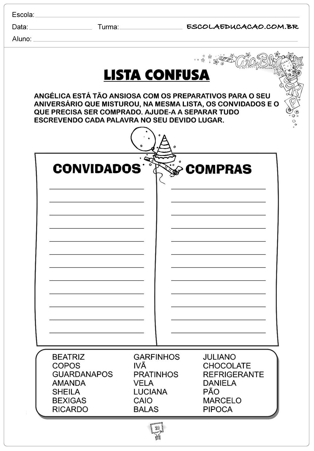 Atividades de Gramática – Lista Confusa