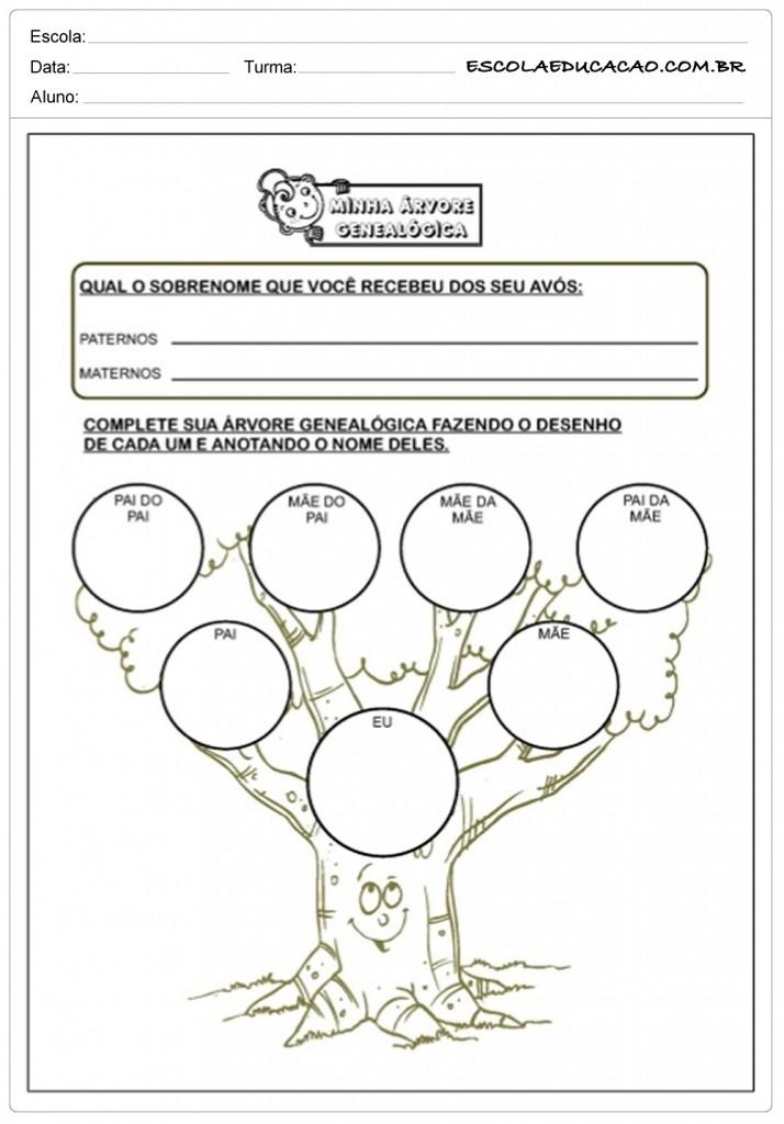 Atividades de Alfabetização - Árvore Genealógica