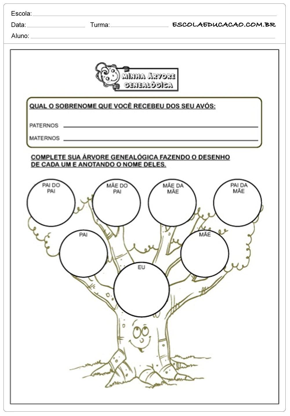 Top Atividades de Alfabetização - Árvore Genealógica - Escola Educação EL05