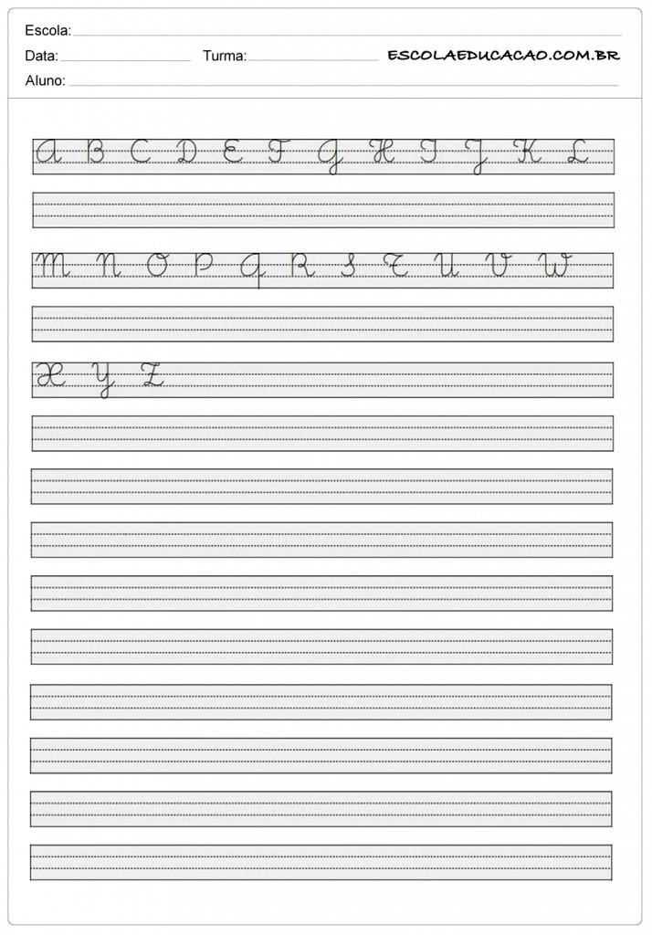 Alfabeto Cursivo  Para Imprimir  Escola Educao