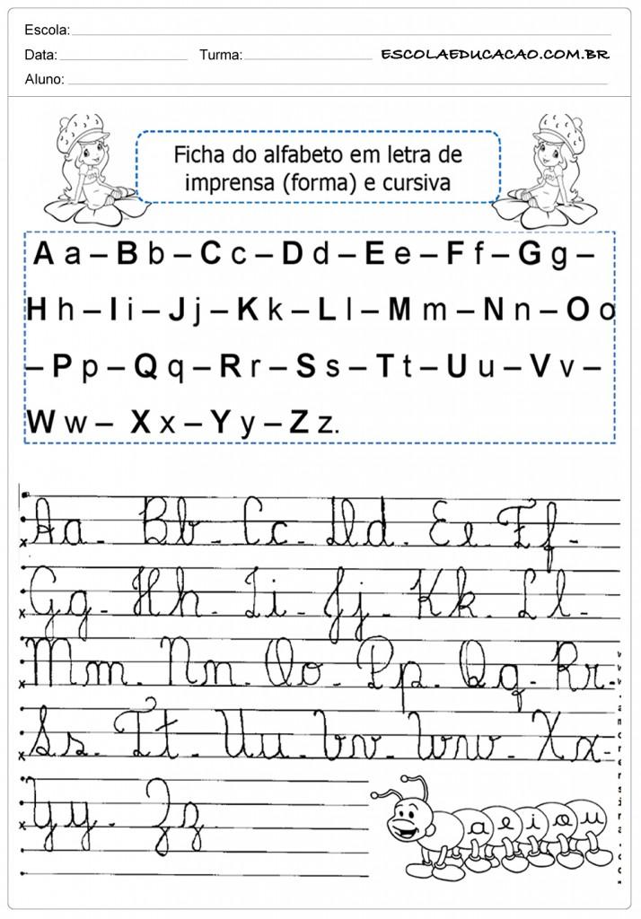 Alfabeto Cursivo Para Imprimir Alfabeto Completo Escola Educacao
