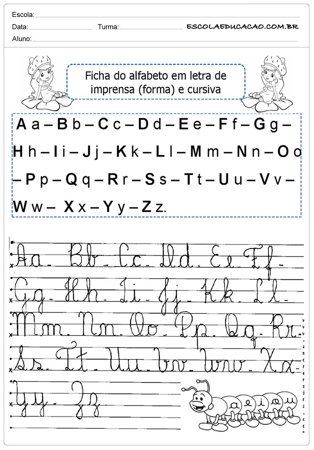 Atividades de Alfabeto Cursivo – Letra Cursiva