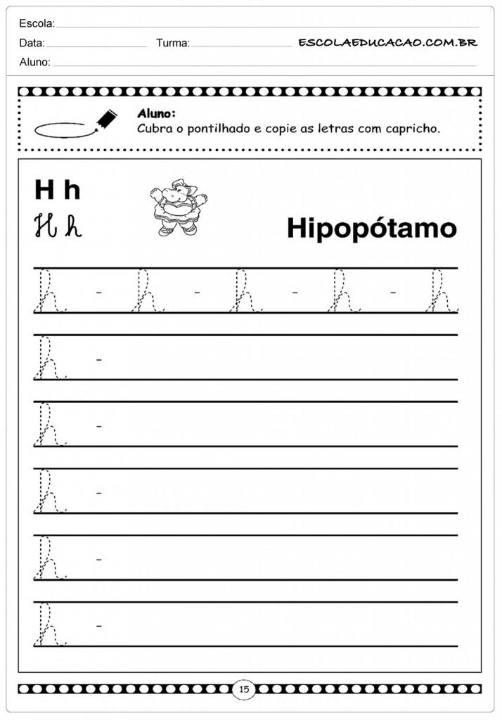 Alfabeto Cursivo - Letra H - Maiúscula