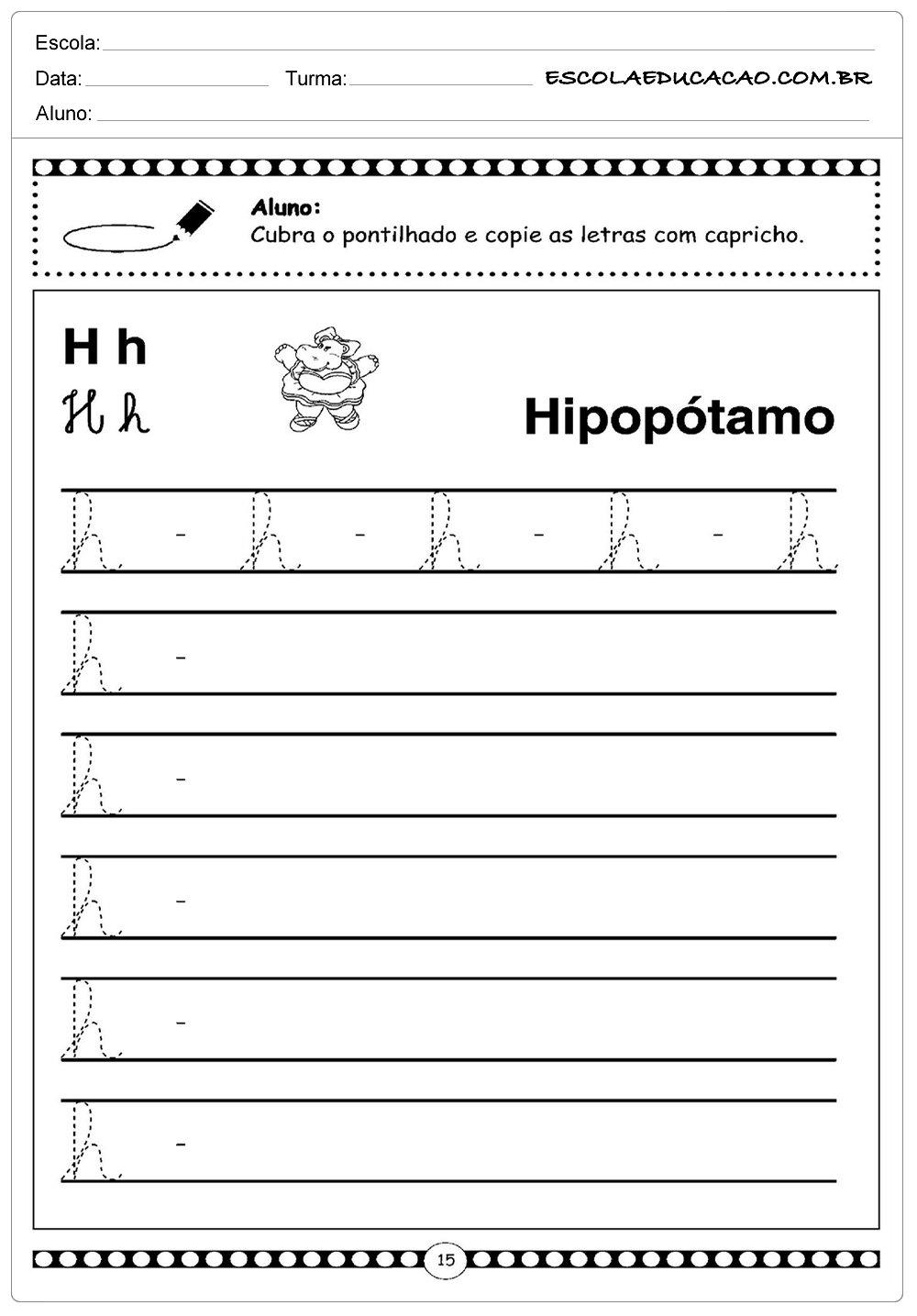 Alfabeto Cursivo – Letra H – Maiúscula