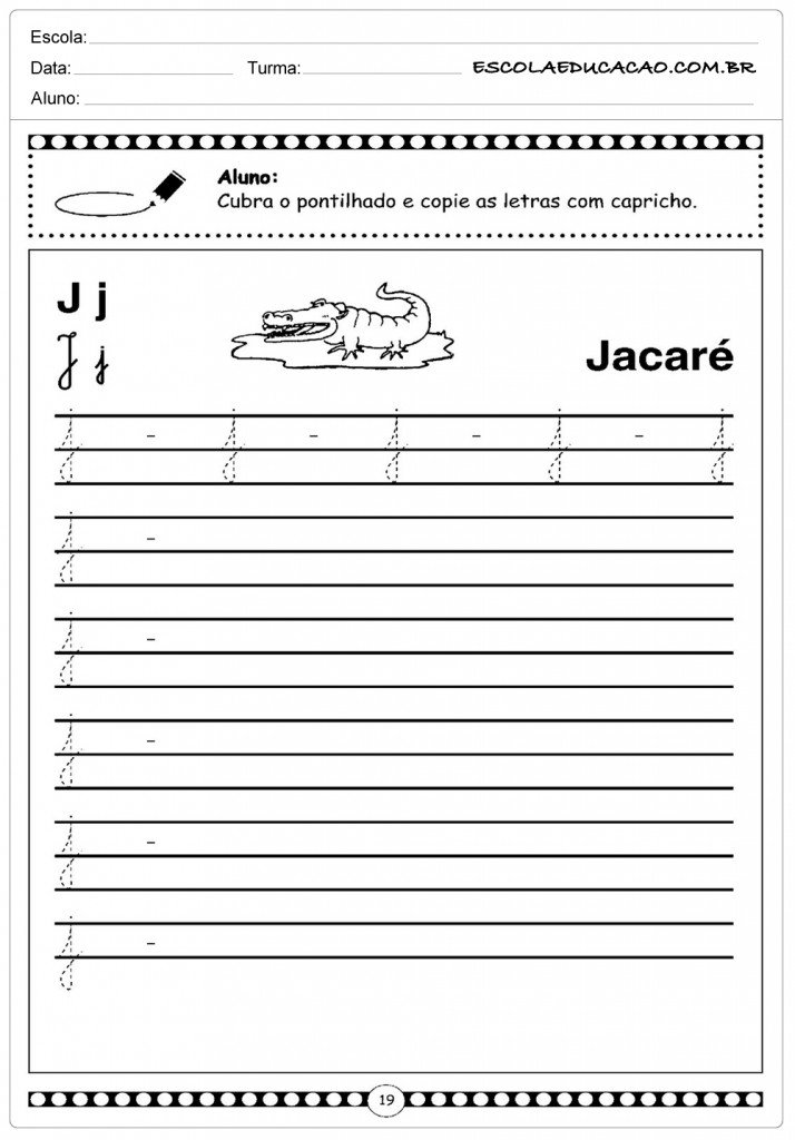 Atividades Letra J - Minuscula