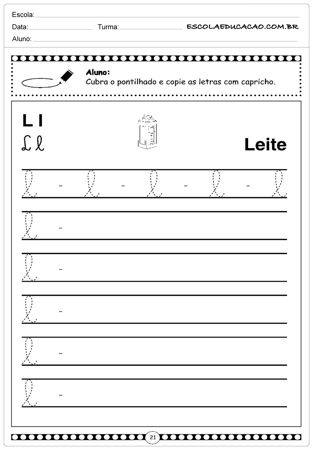 Alfabeto em Letra Cursiva – L – Minusculo