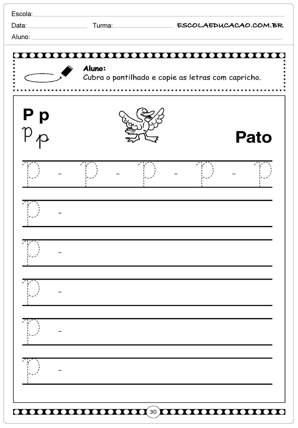 Letra Cursiva – Pato