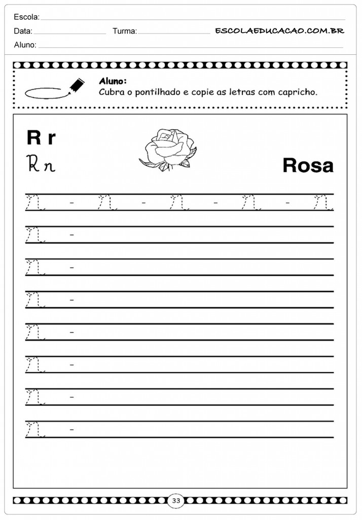 Alfabeto Cursivo - Rosa