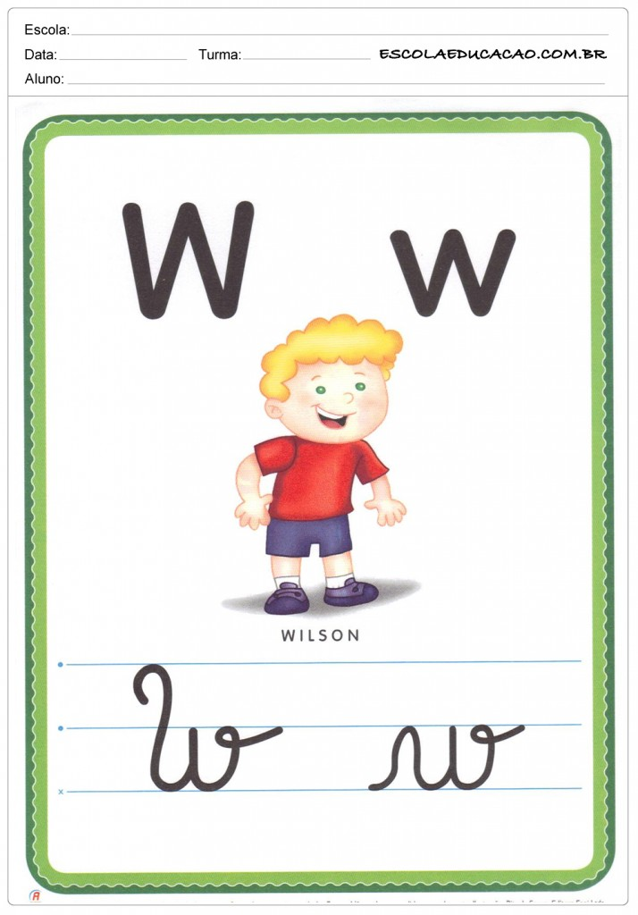Alfabeto Ilustrado - Letra W