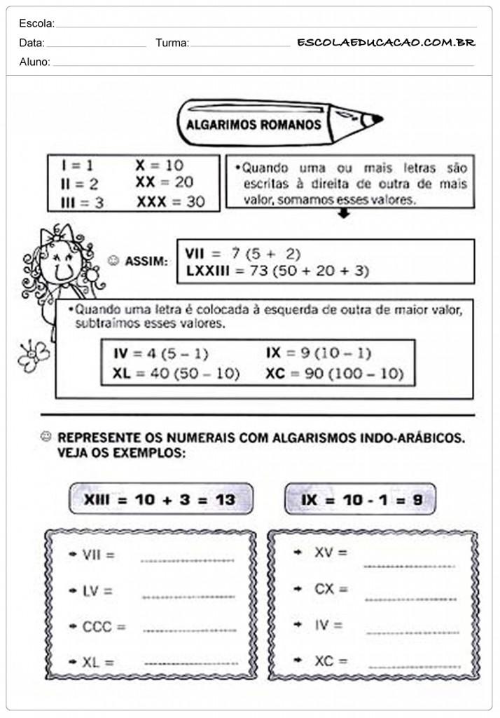 Atividades com Algarismos Romanos - Complete Corretamente