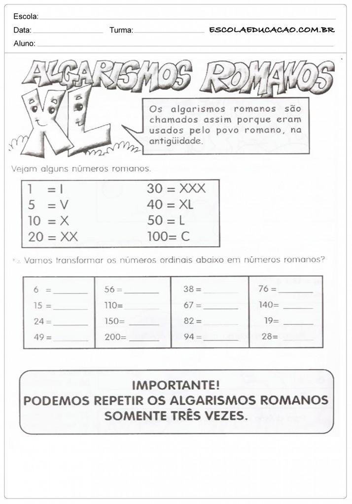 Atividades Com Números Romanos Para Imprimir