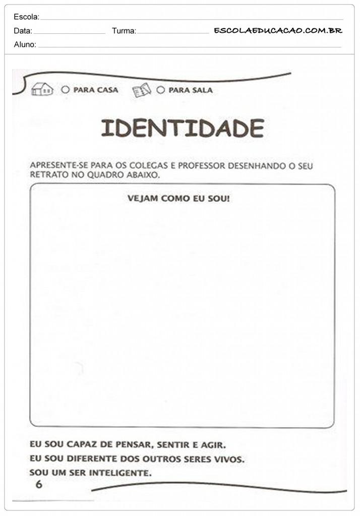 Top Atividades de Identidade - Educação Infantil - Para Imprimir DK68