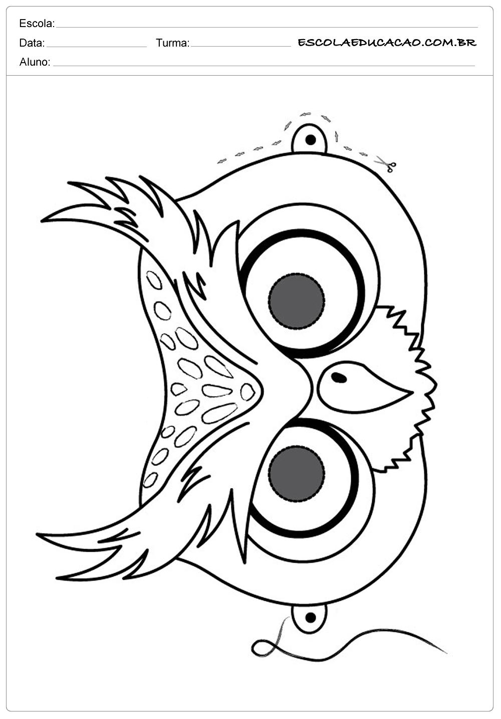 Moldes de Corujas  – Máscara de Coruja