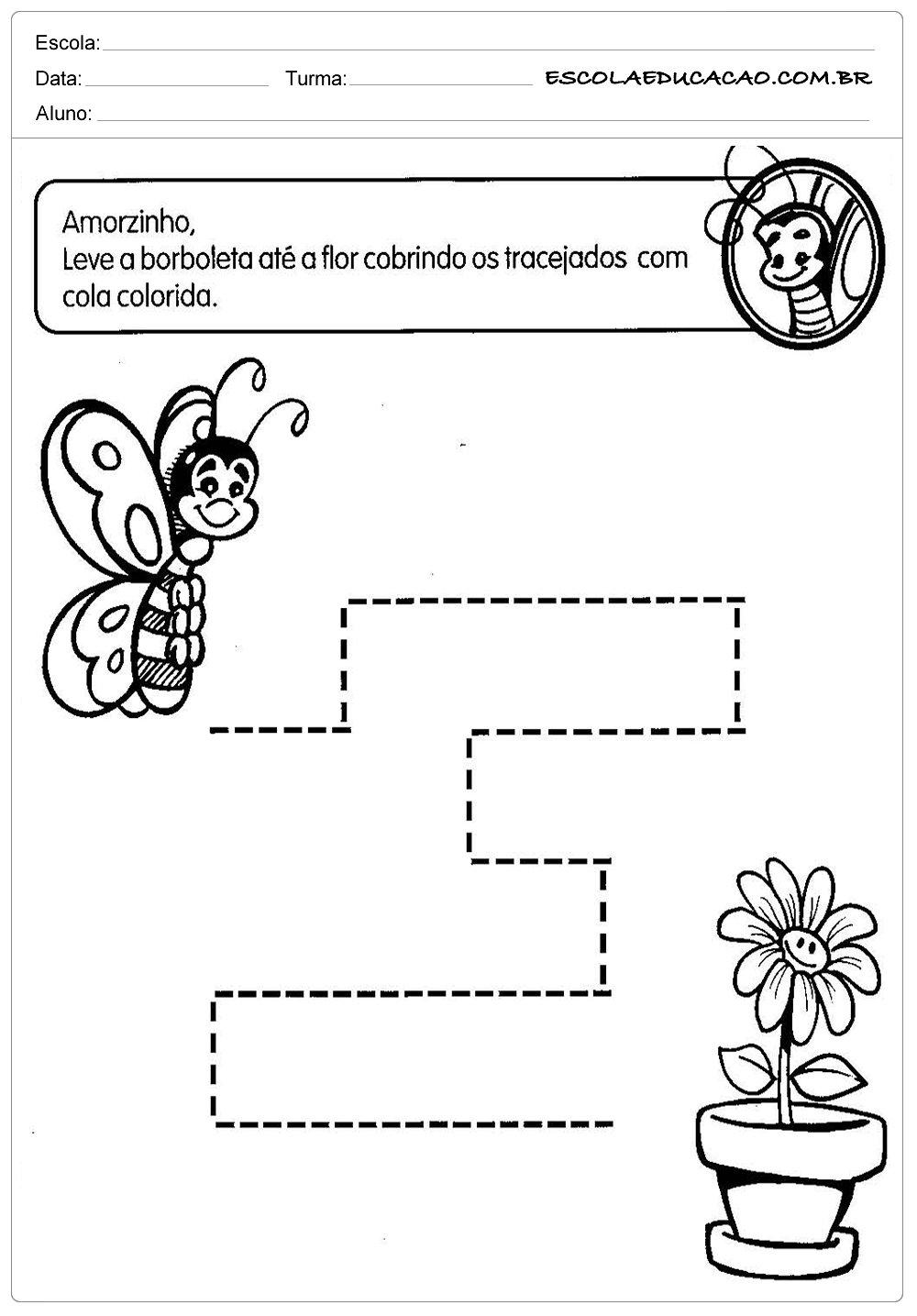 Muitas vezes Atividades Pontilhadas Maternal - Abelha - Escola Educação EV54