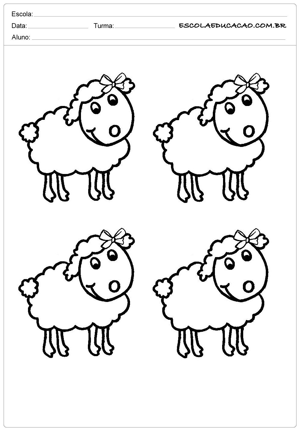 4 ovelhas com lacinhos