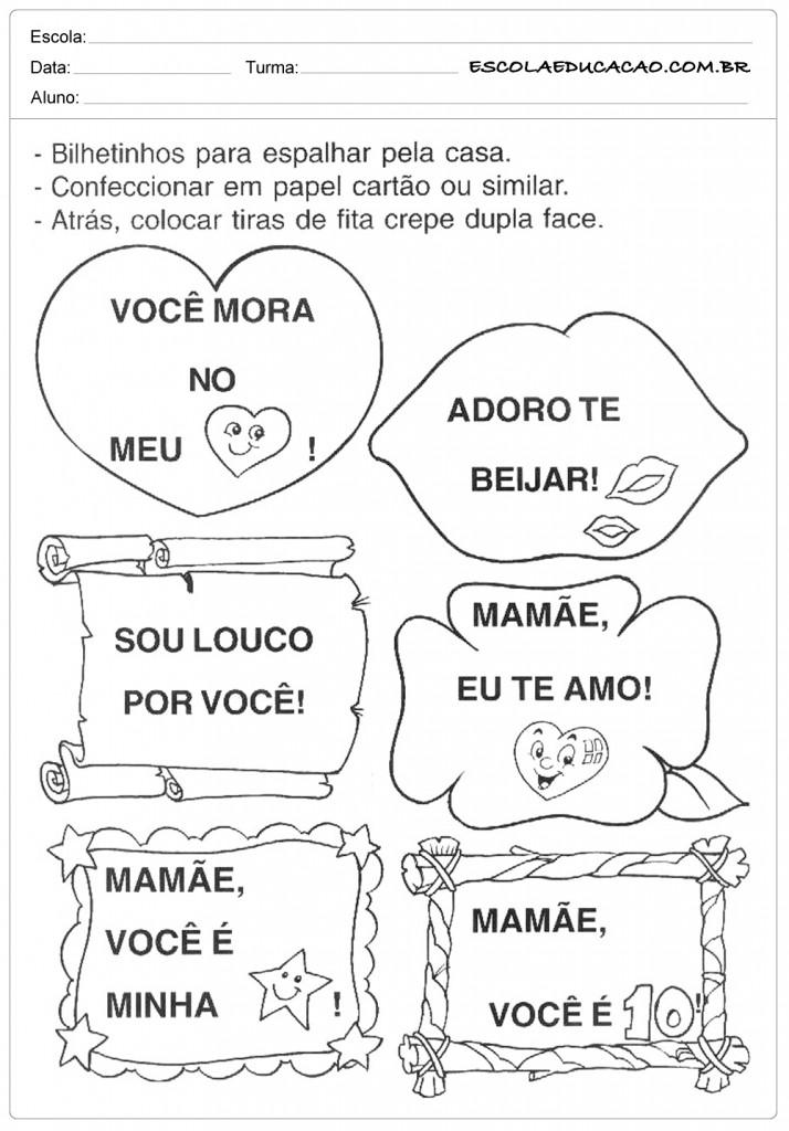 Atividades dia das Mães - Educação Infantil - Bilhetinhos
