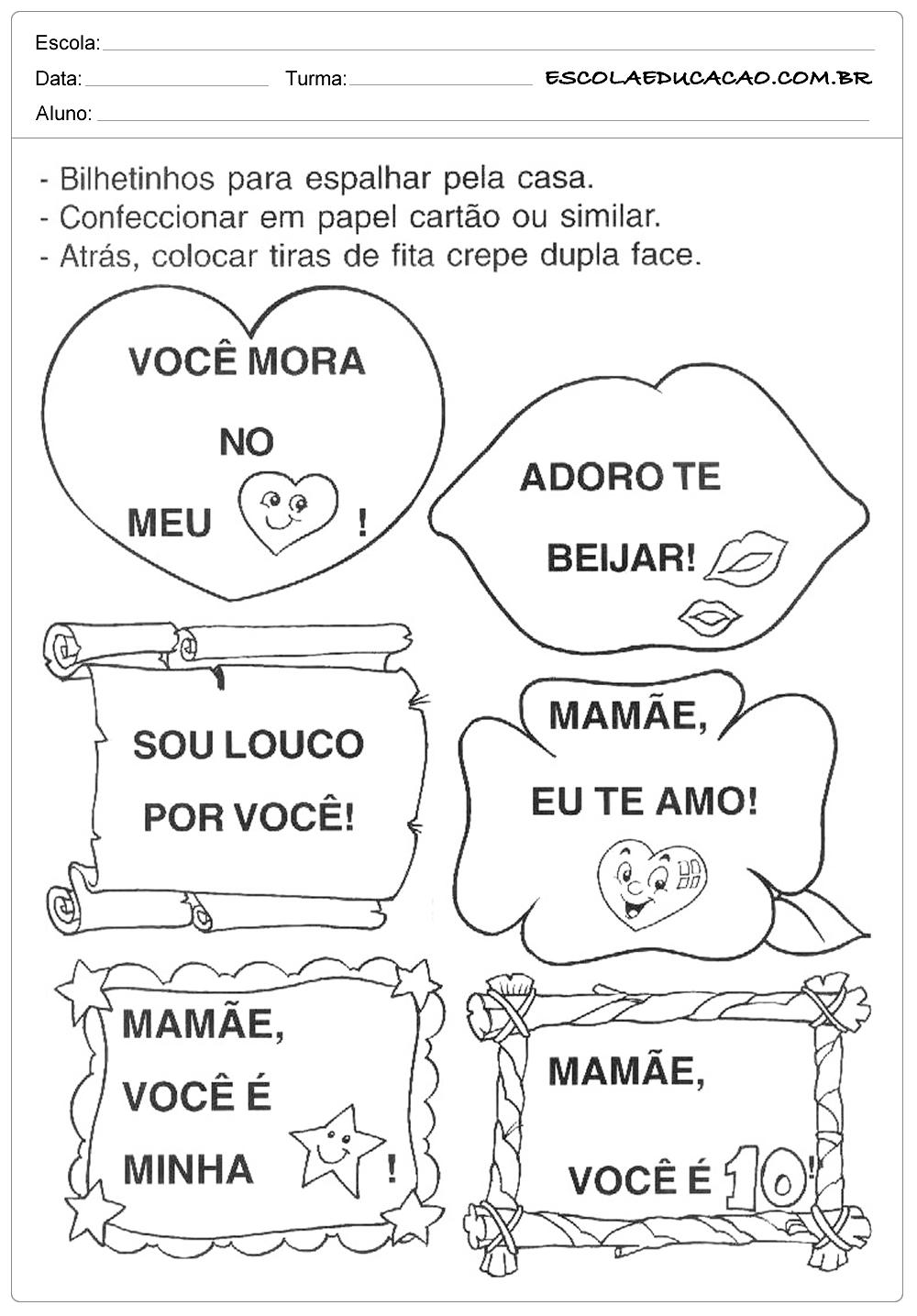Atividades dia das Mães – Educação Infantil – Bilhetinhos