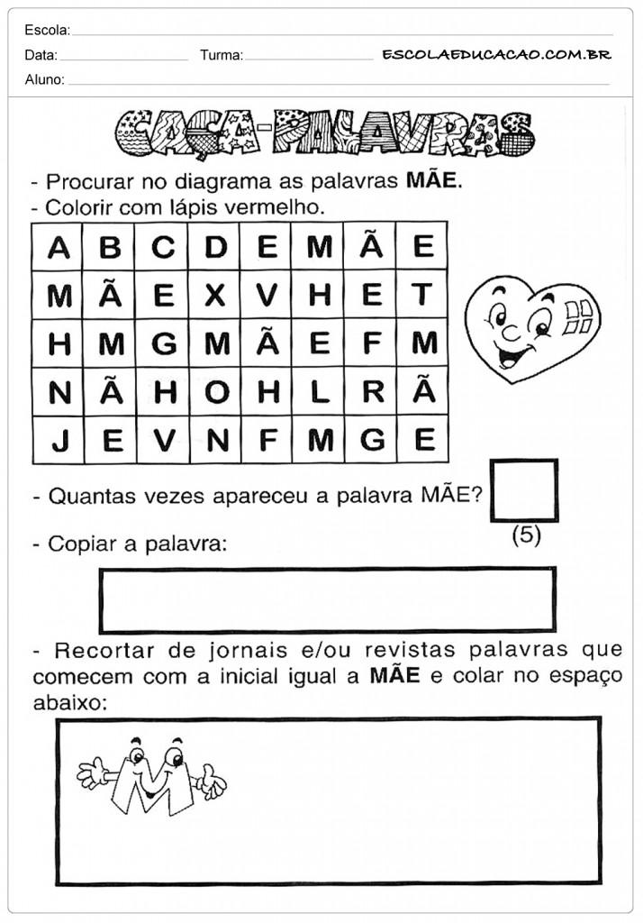 Atividades dia das Mães - Educação Infantil - Caça Palavras