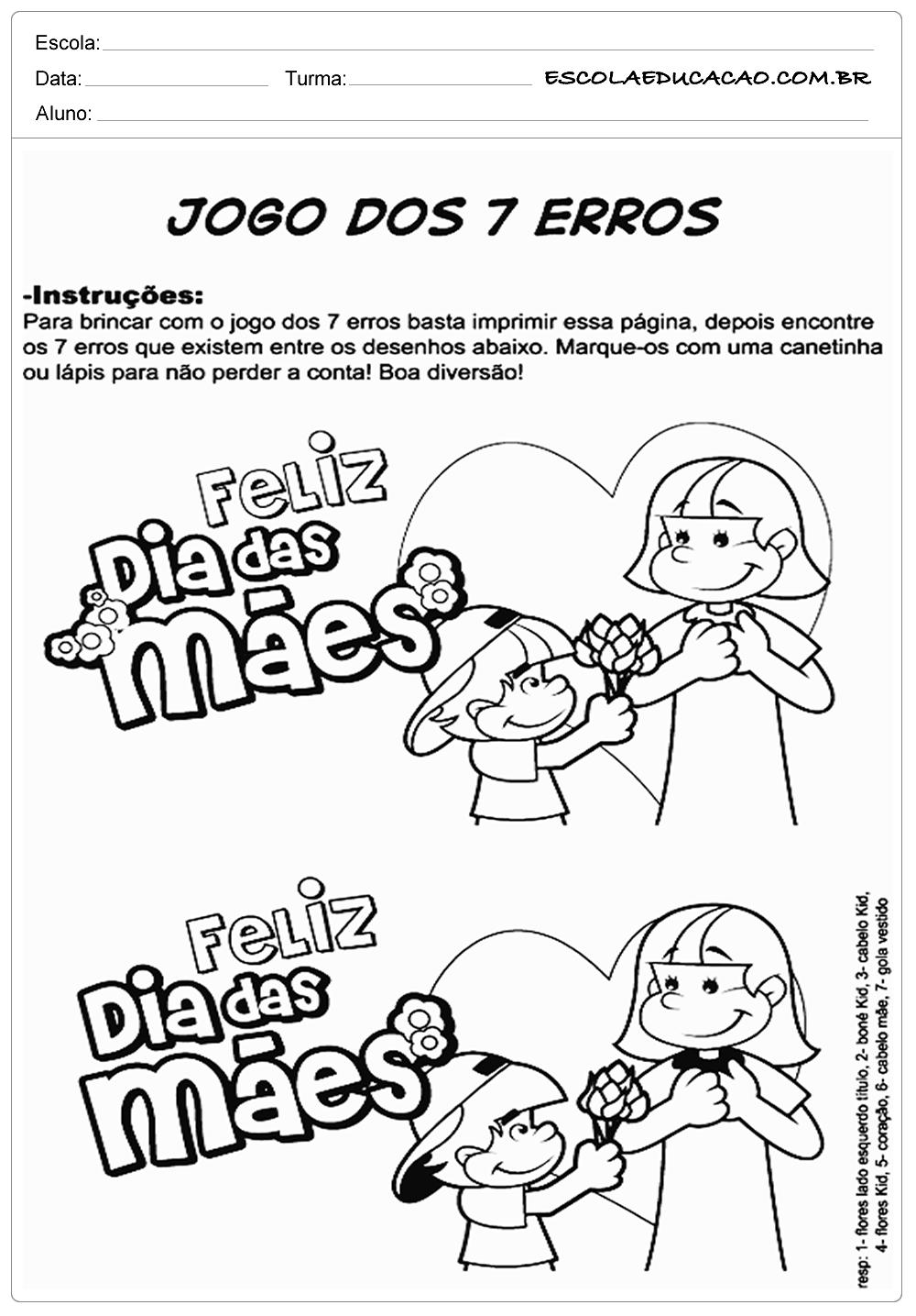 Atividades Dia Das Maes Educacao Infantil Jogo Dos Sete Erros