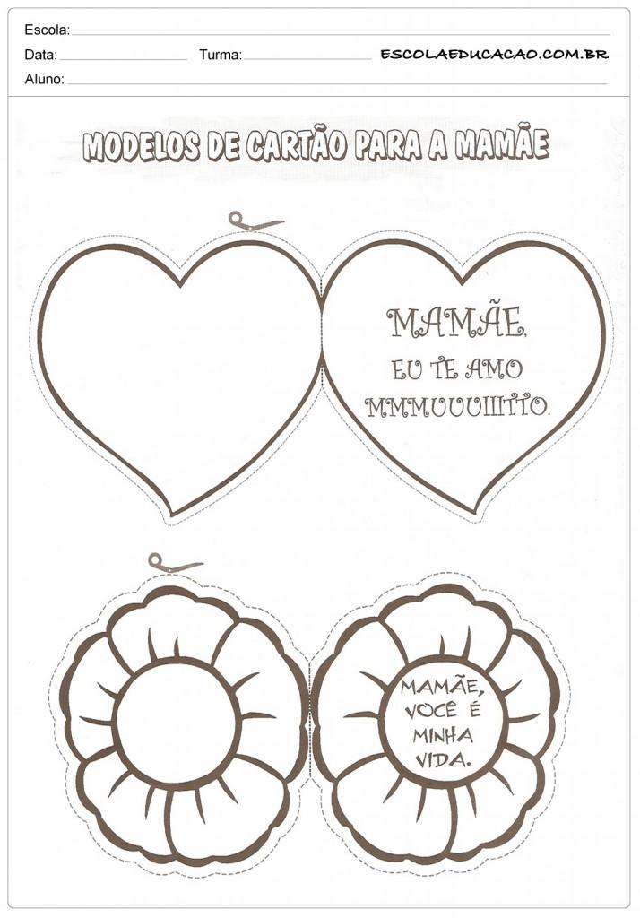 Atividades dia das Mães - Educação Infantil - Modelos de Cartão