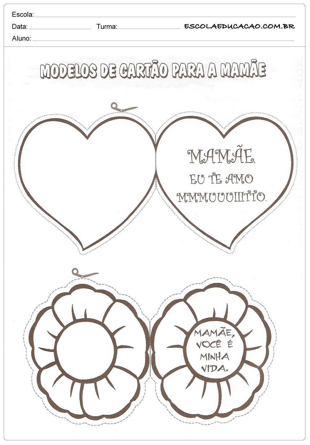 Atividades Dia Das Mães Educação Infantil Modelos De Cartão