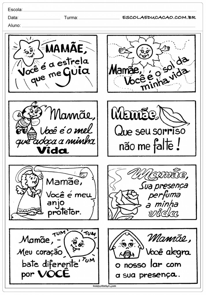 Atividades dia das Mães - Educação Infantil - Recadinhos para Mamãe