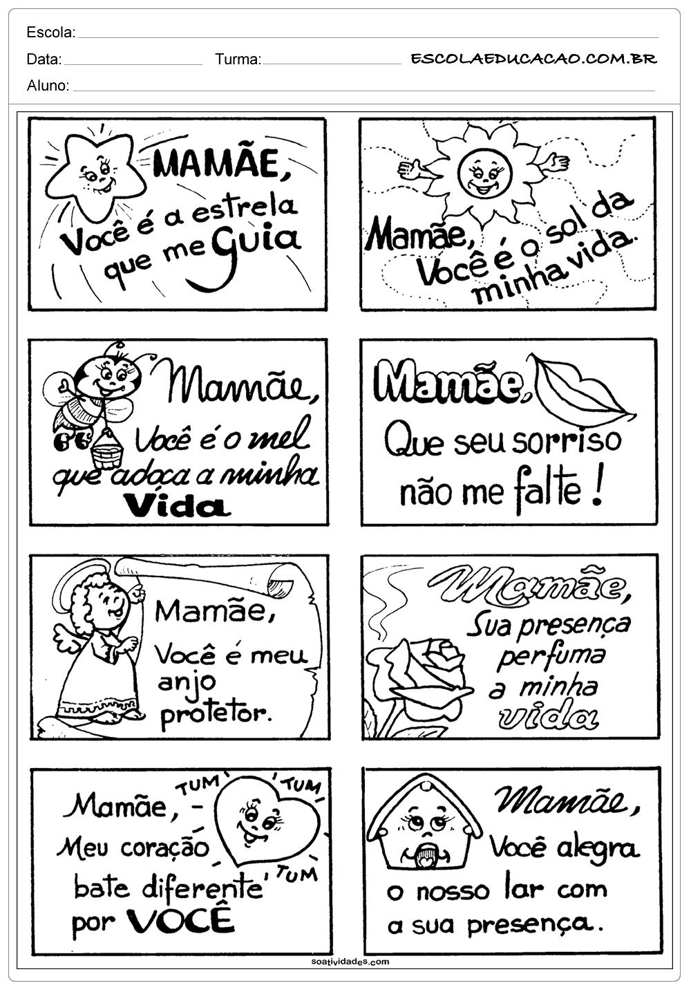 Atividades dia das Mães – Educação Infantil – Recadinhos para Mamãe