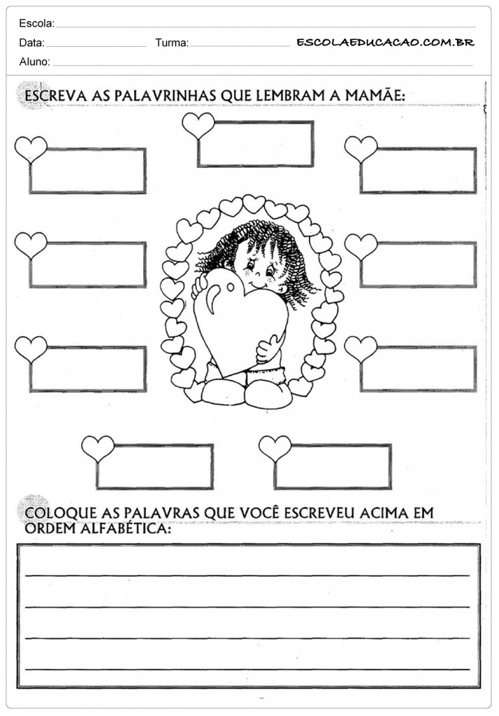 Atividades dia das Mães - Educação Infantil - O que Lembra a Mamãe