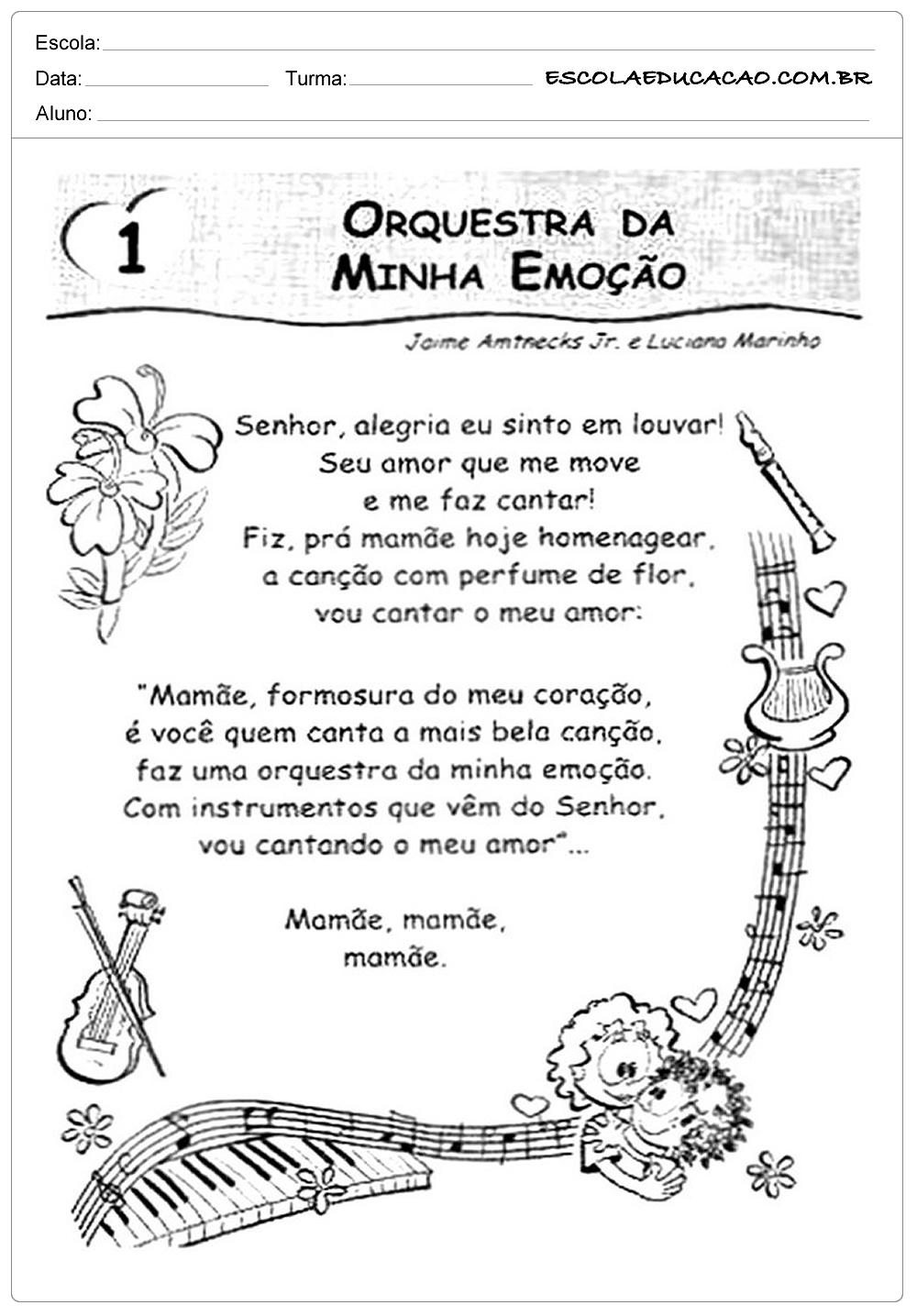 Atividades dia das Mães – Educação Infantil – Orquestra da Minha Emoção
