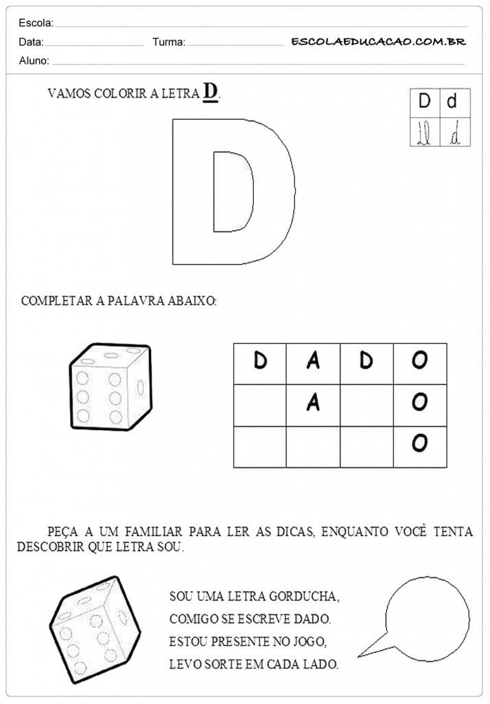 Atividades com a letra D - Colorir
