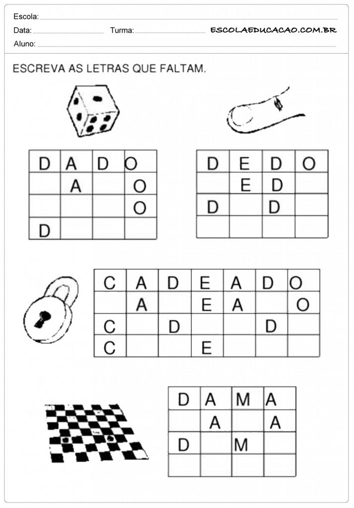 Atividades com a letra D - Complete