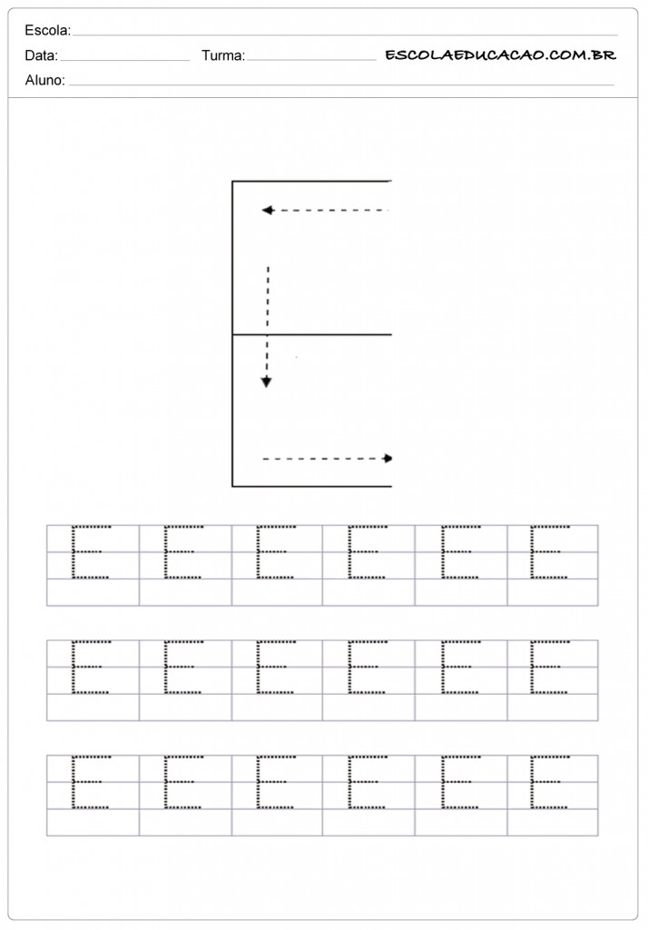 Atividades com a letra E - Caligrafia