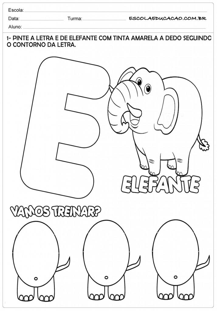 Atividades com a letra E - Pinte o Elefante