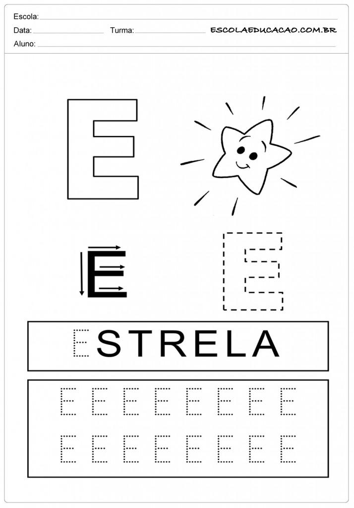 Atividades com a letra E - Pontilhado
