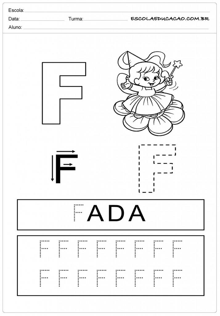 Atividades com a letra F - Caligrafia