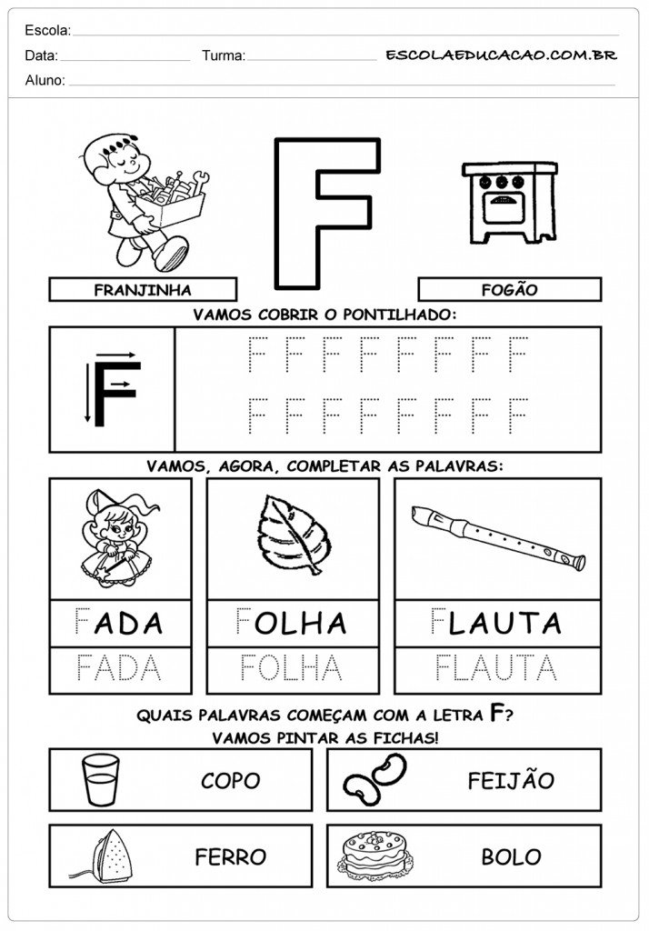 Atividades com a letra F - Pontilhado