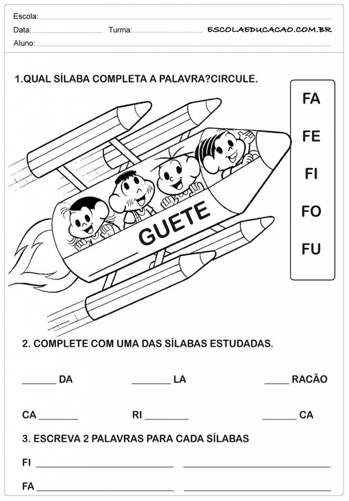 Atividades com a letra F - Turma da Mônica