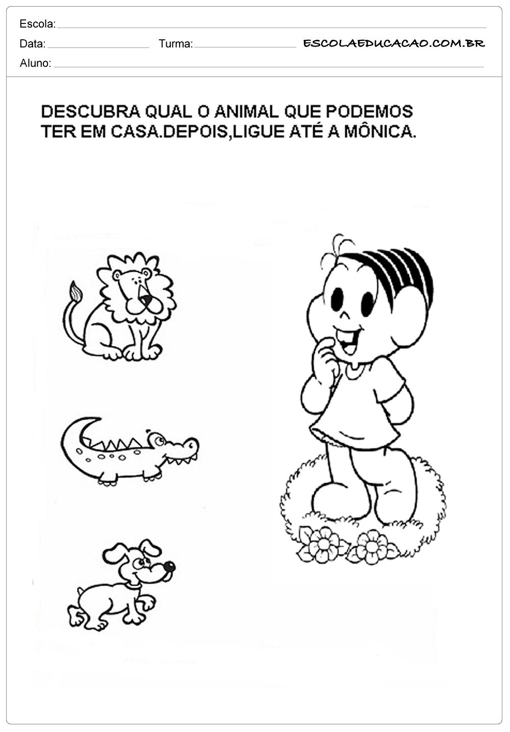 Muito Atividades com Animais - Turma da Mônica - Escola Educação SN06