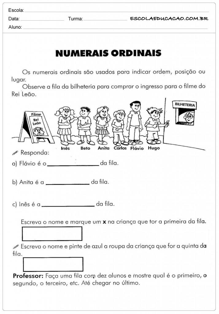 Atividades com Números Ordinais