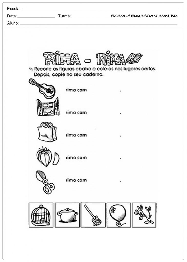 Atividades Com Rimas Para Imprimir Educacao