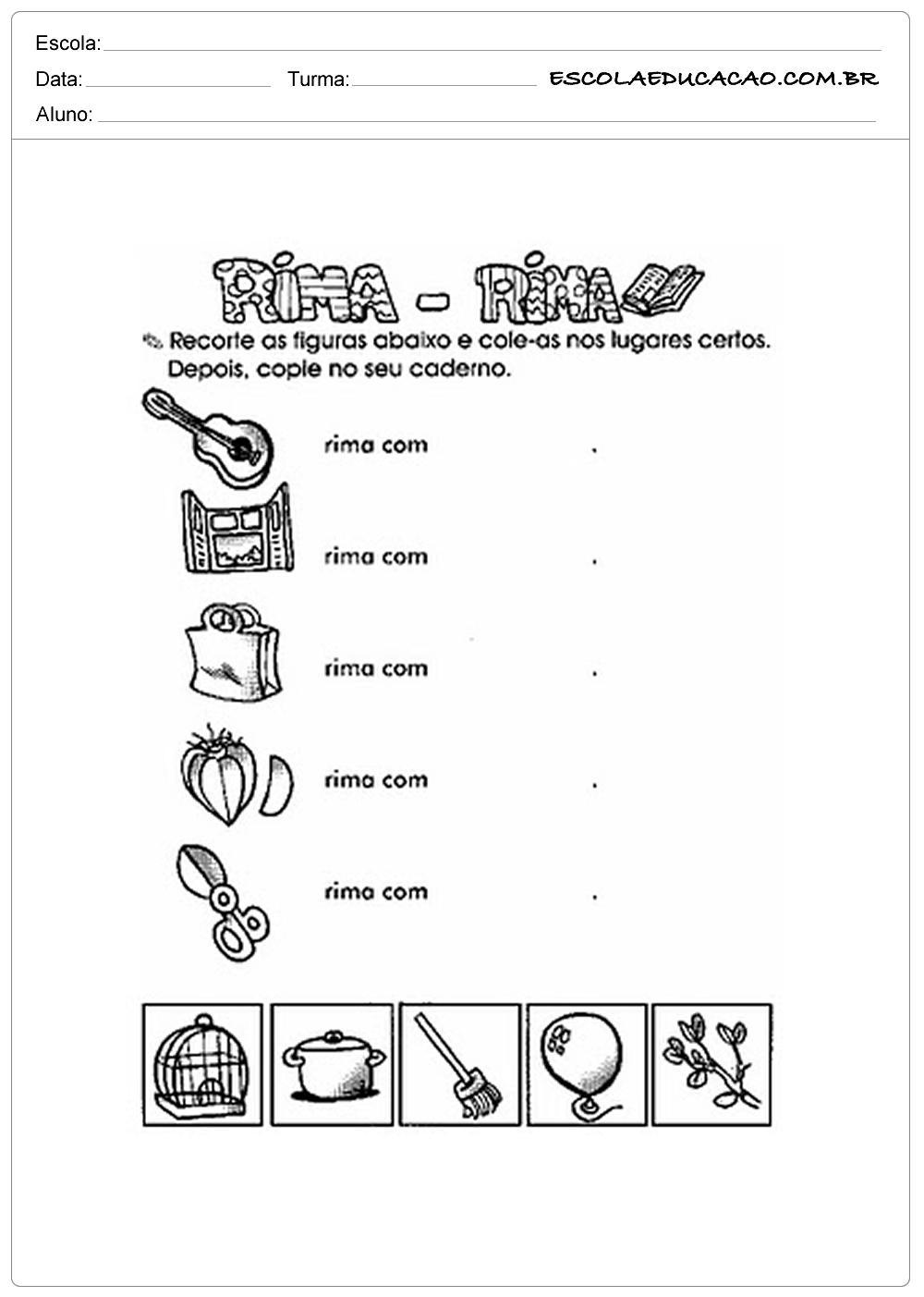 Atividades com Rimas – Rima Rima