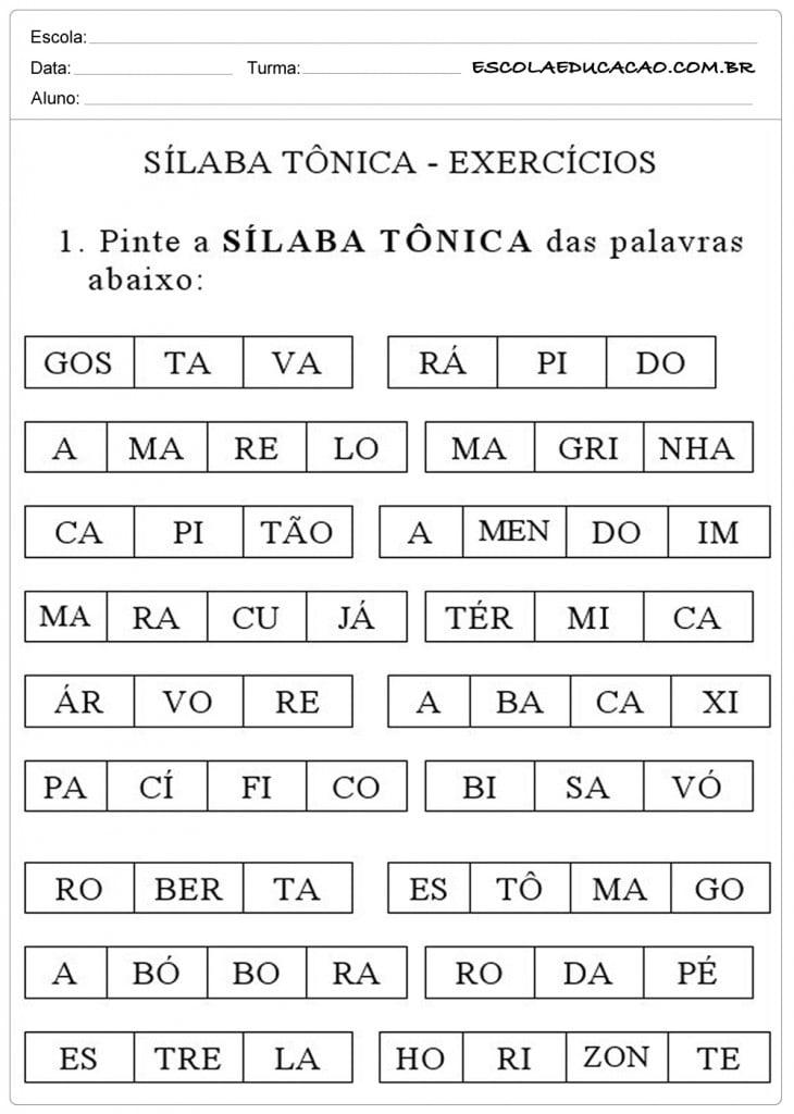 Atividade com Sílabas Tônicas - Exercícios