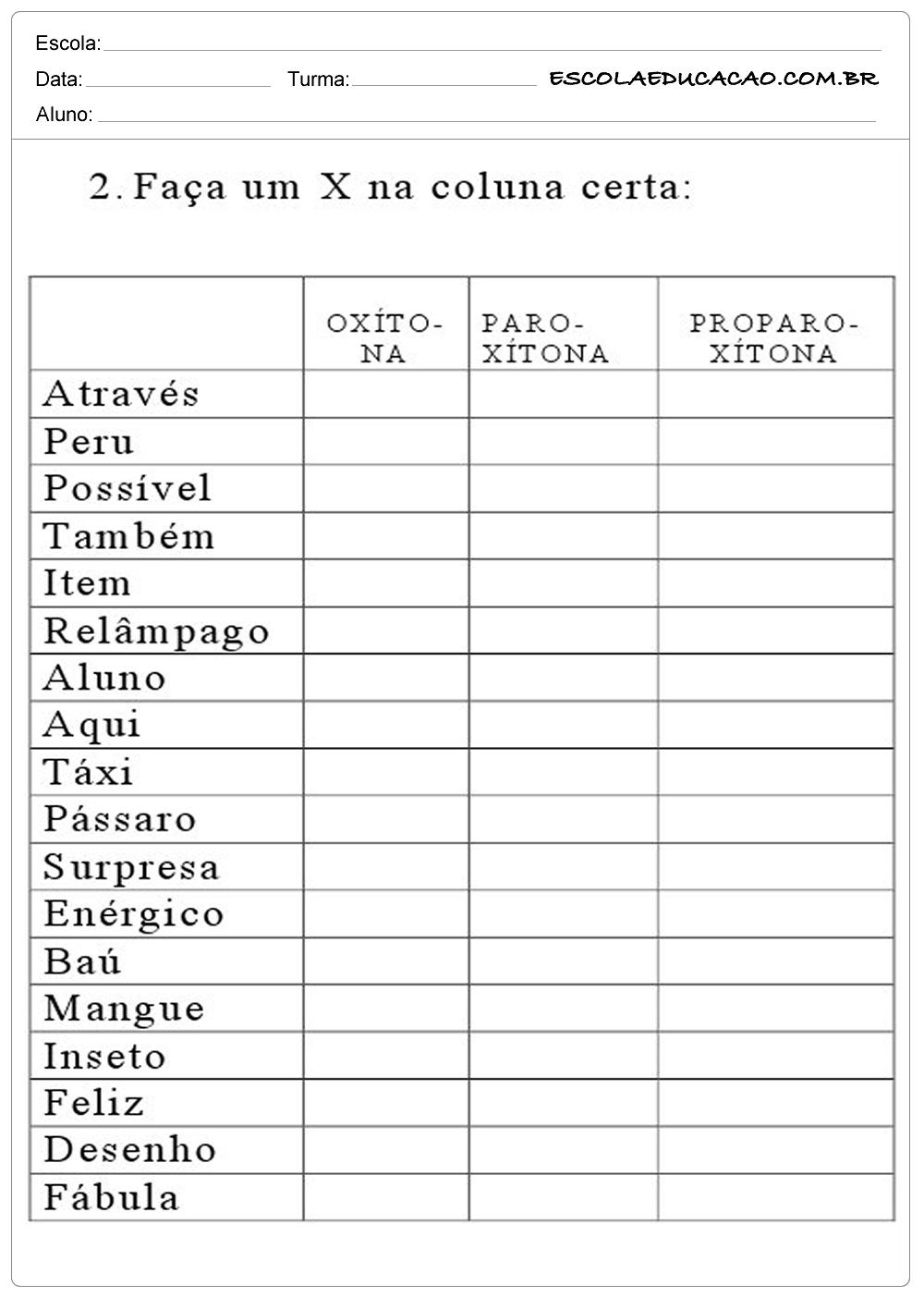 Atividade com Sílabas Tônicas – Marque a Correta