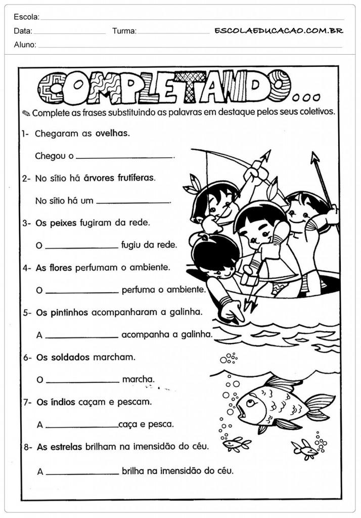 Atividades com Substantivos - Complete