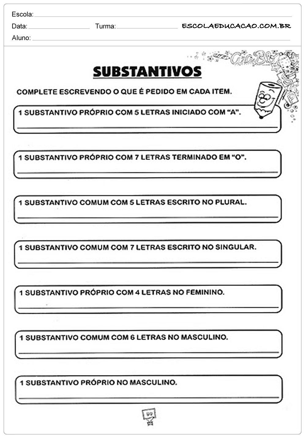 Atividades com Substantivos – Complete Escrevendo