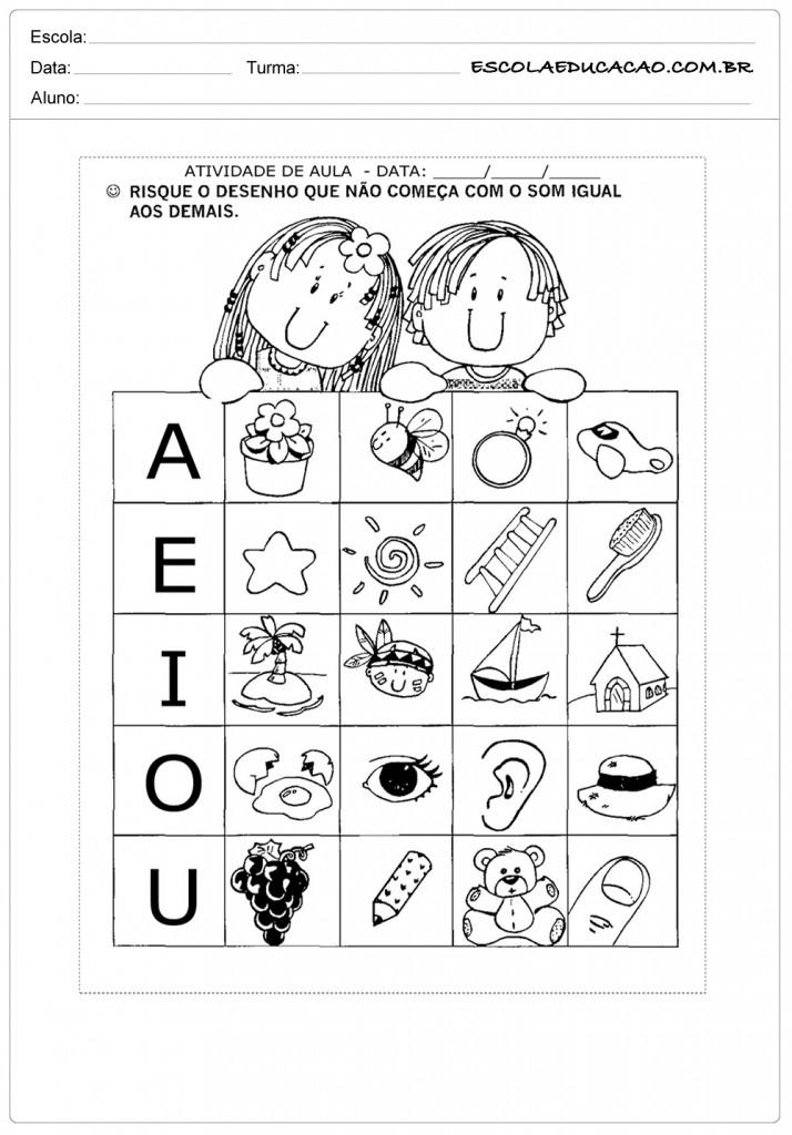Atividades com Vogais - Para fazer em sala de aula